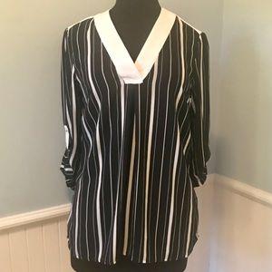 H&M Navy Blue & White Striped Blouse Size 8